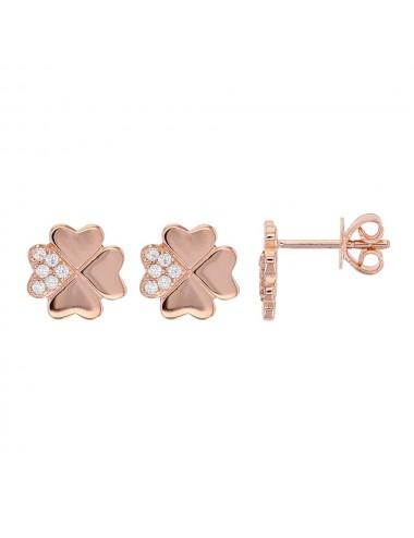 Boucles d'oreilles trèfle avec oxydes de zirconium en argent doré rose et argent rhodié