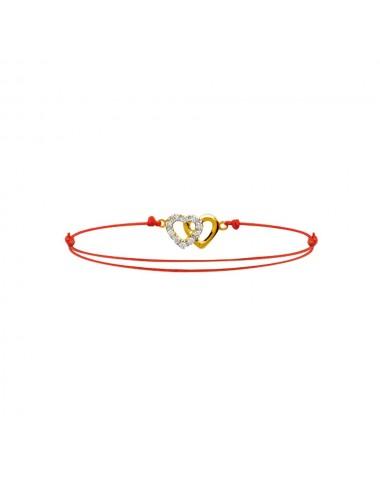 Bracelet réglable coton 2 coeurs plaqué or et oxydes de zirconium