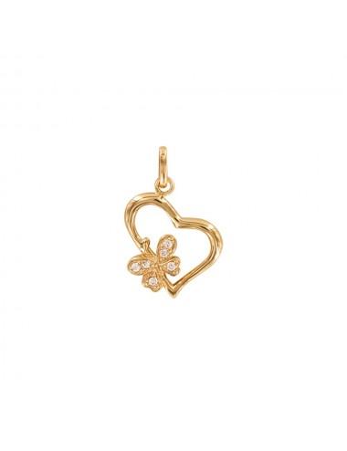 Pendentif coeur avec papillon en oxyde de zirconium Plaqué Or