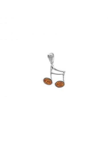 Pendentif note de musique Ambre cognac Argent rhodié 925/1000