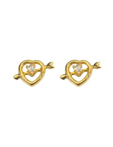 Boucles d'oreilles coeur flèche en or avec Oxyde