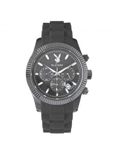 Montre boîtier et bracelet plastique noir grand modèle
