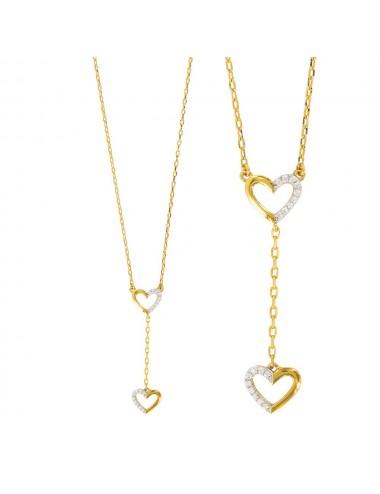 collier coeur avec oxydes en plaqué or