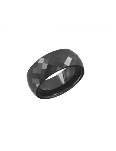 Bague Céramique biseauté noir taille 54