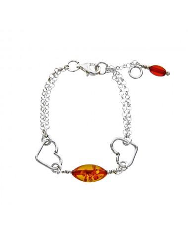 Bracelet  avec des coeurs en argent   Ambre