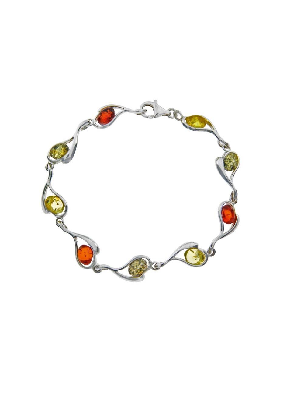bracelet ambre argent rhodié