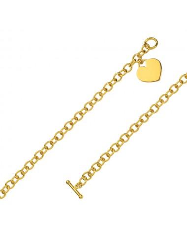 bracelet coeur plaqué or 19cm