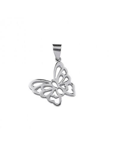 pendentif papillon en argent rhodié 925/1000