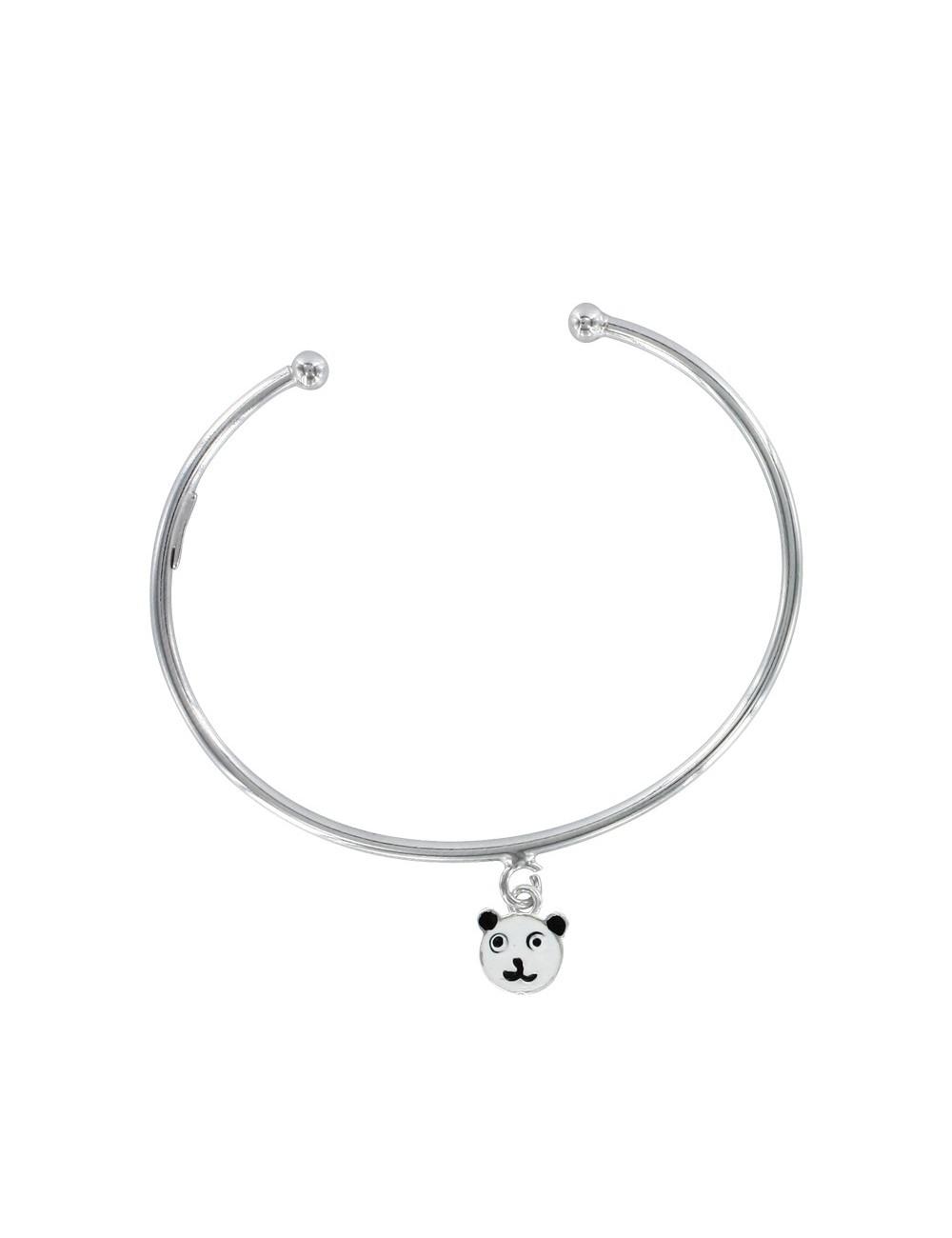 bracelet jonc ouvert pendentif panda émaillé