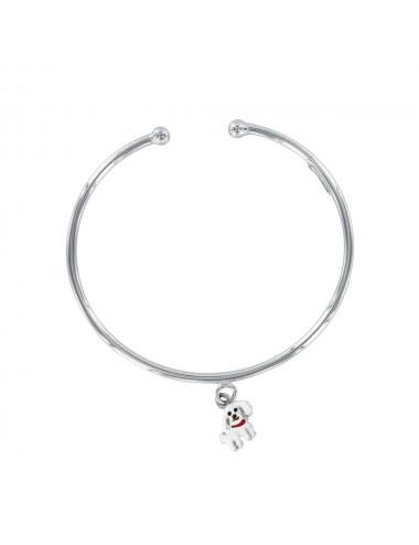 bracelet jonc ouvert pendentif chien émaillé