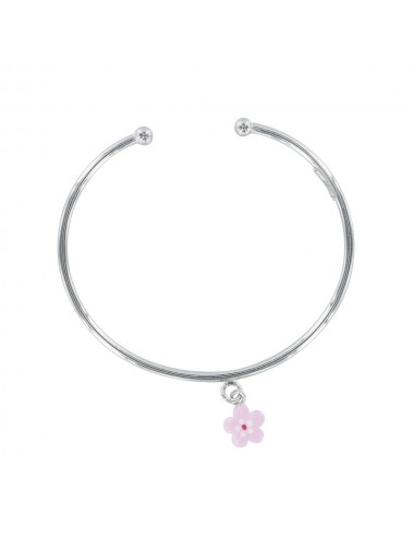 Bracelet jonc ouvert petite fleur rose