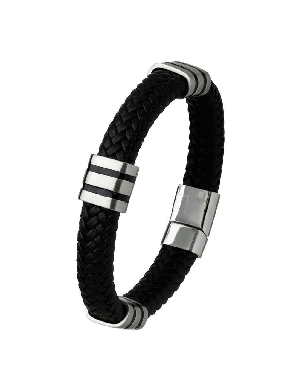 bracelet cuir tressé et acier
