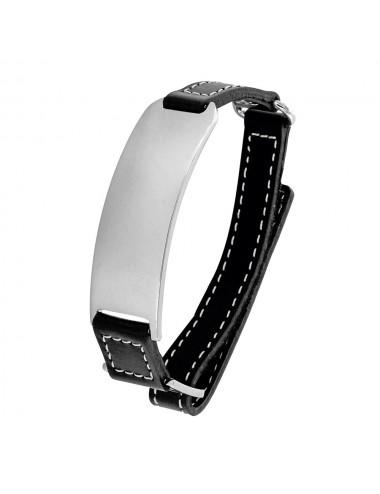 bracelet identité acier et cuir