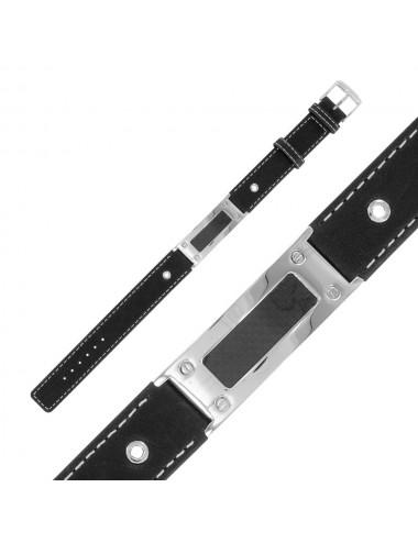 bracelet cuir et acier brossé
