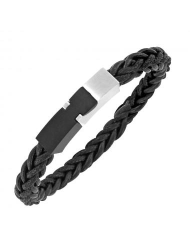 bracelet acier et cuir tressé