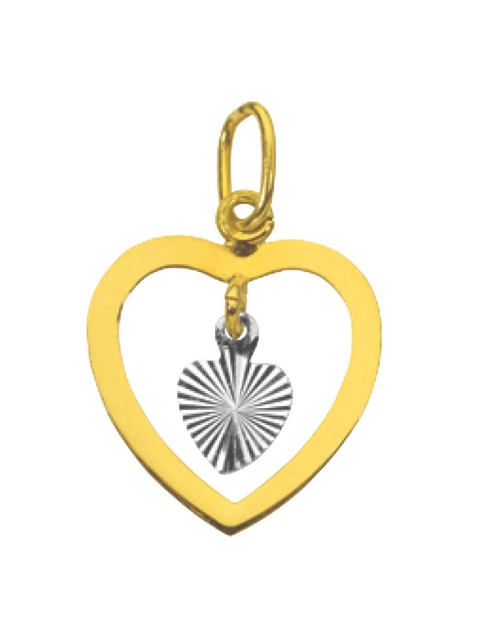 pendentif bicolore cœur étoilé