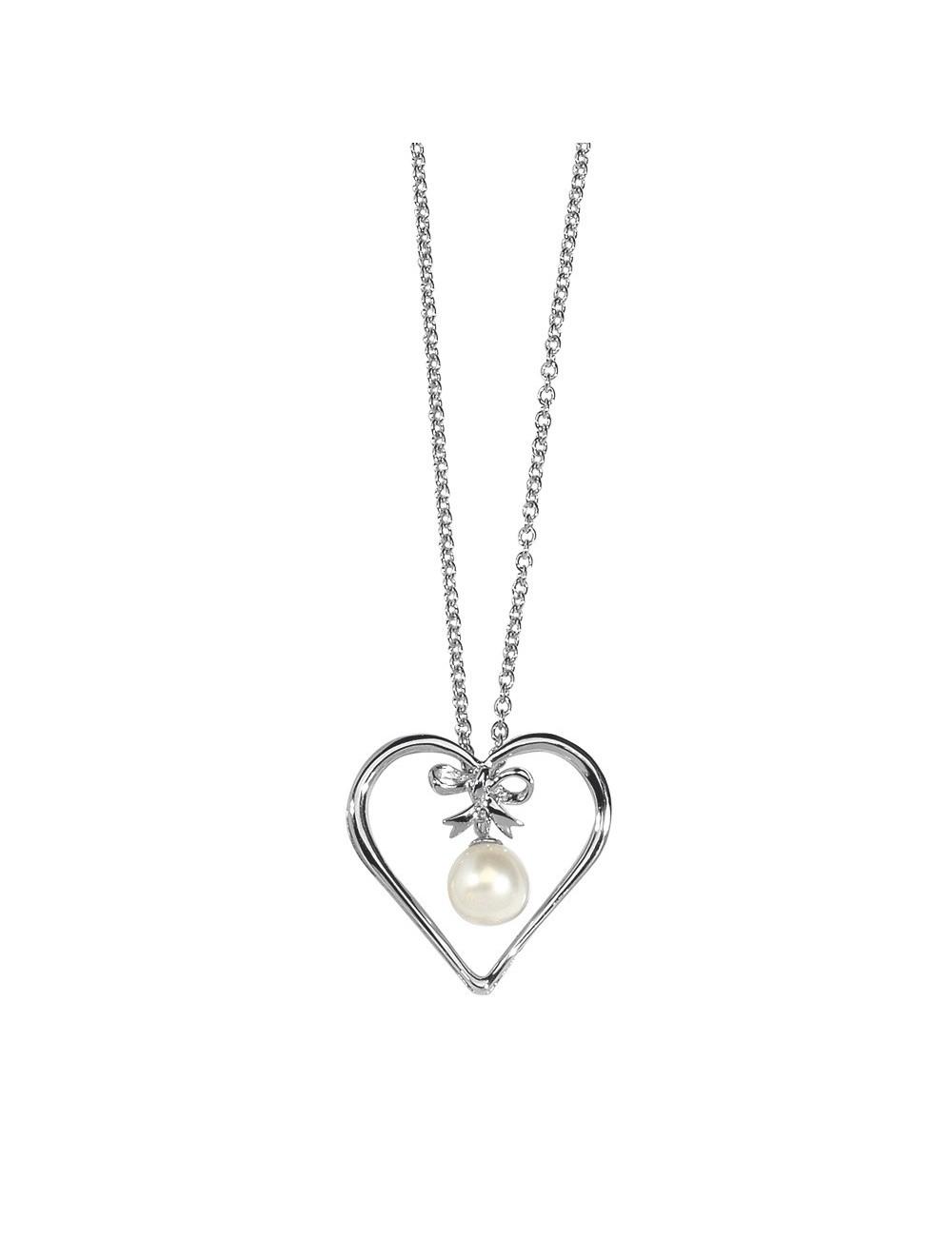 pendentif cœur et perle d'eau douce