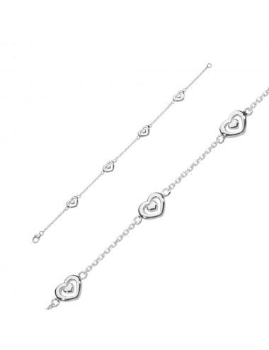 Bracelet jonc petite fleur fuchsia Argent  rhodié
