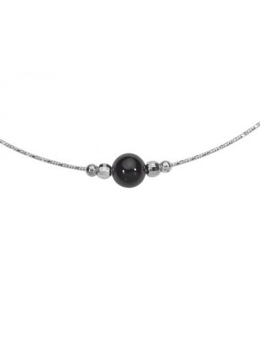 collier perle noire