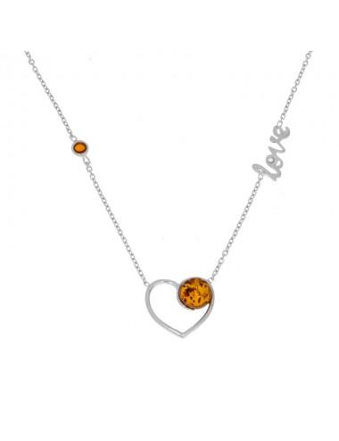 Collier coeur Love avec 2 pierres Ambre cognac et argent 925/1000 rhodié