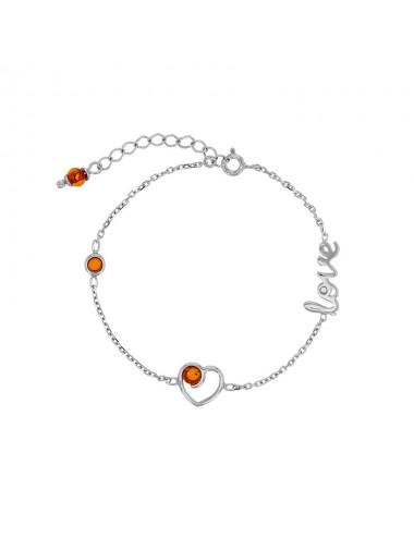 Bracelet coeur Love avec pierres Ambre cognac et argent 925/1000 rhodié