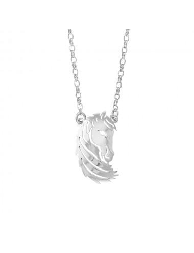 Collier tête de cheval en argent rhodié