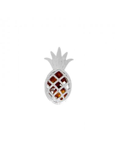 Pendentif ananas ambre et argent rhodié