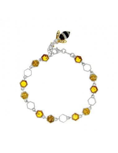 Bracelet alvéoles en ambre miel orné d'une abeille et argent 925/1000 rhodié