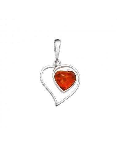 pendentif cœur d'ambre et argent