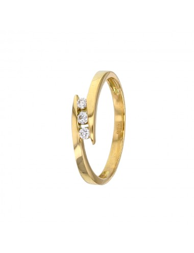 Bague trilogie en or 750/1000 et diamants 0.12 ct h-si
