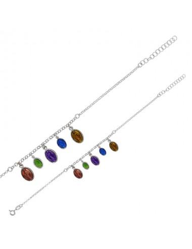 Bracelet GYPSY MARIA médailles Madone de couleur, émail et argent 925/1000 rhodié