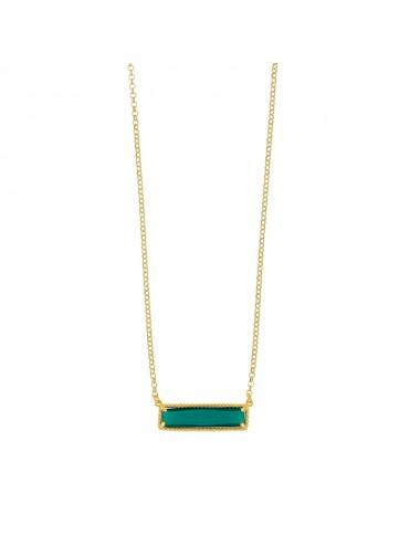 Collier rectangle en argent doré et cristal vert émeraude.