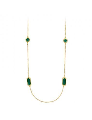 Sautoir rectangles et ronds facettés perlé cristal vert émeraude et argent 925/1000 doré