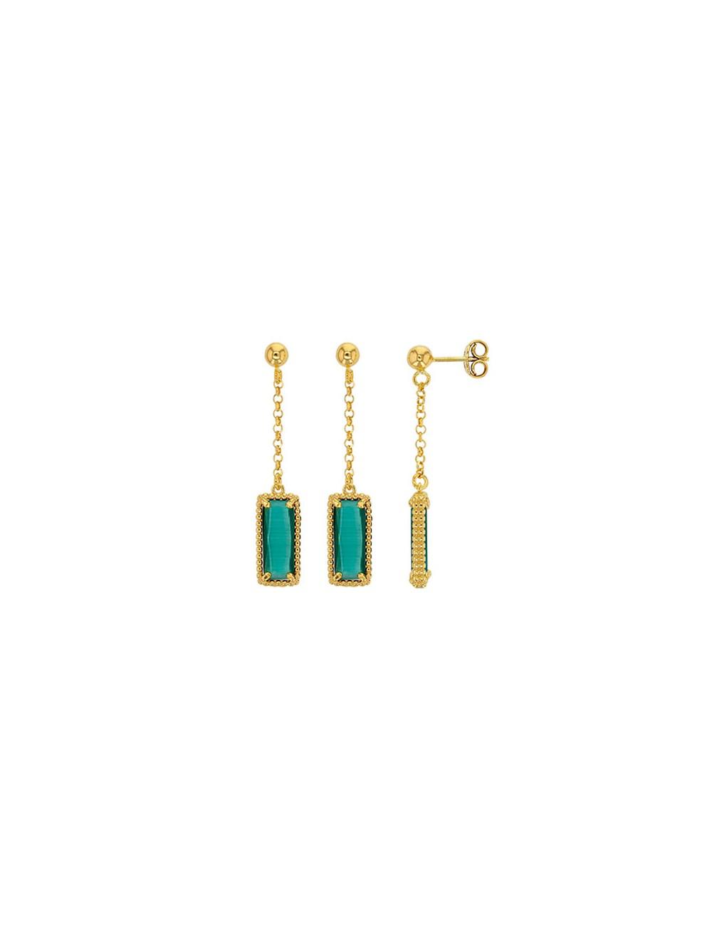 bijoux en argent doré et cristal vert émeraude