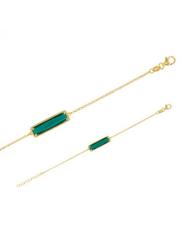 bracelet rectangle cristal vert émeraude en argent doré