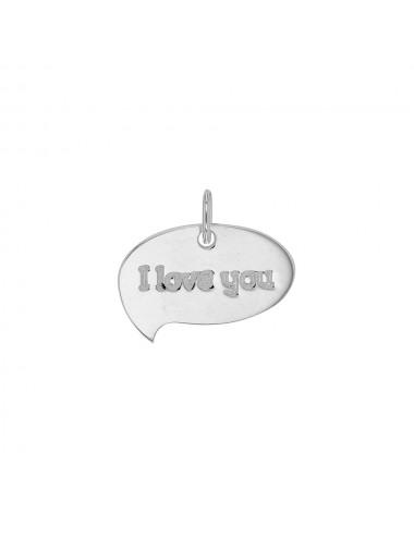 """Plaque à graver forme bulle en argent 925/1000 avec message """"I love you"""""""