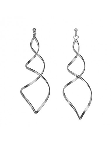 boucles d'oreilles longue en spirale en argent 925/1000 rhodié