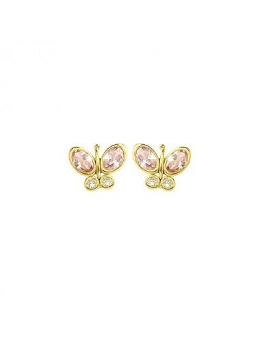 boucle d'oreille papillon teinté rose