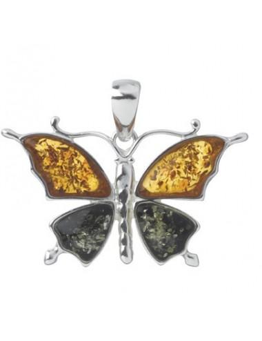 Pendentif Papillon Ambre Argent