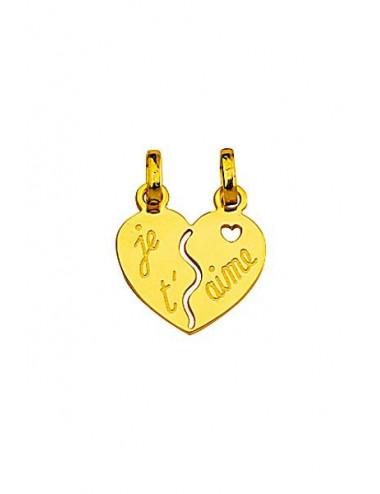 Pendentif Coeur je t aime en or