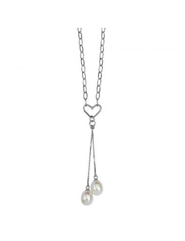 pendentif cœur et perles d'eau douce