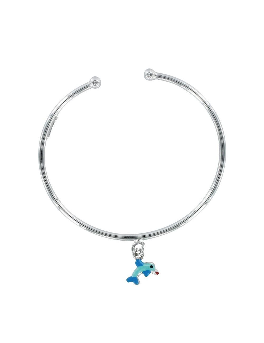 bracelet jonc ouvert pendentif dauphin bleu émaillé