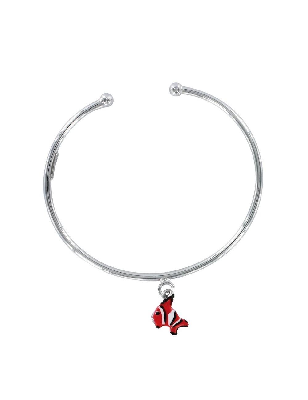 bracelet jonc ouvert pendentif poisson émaillé