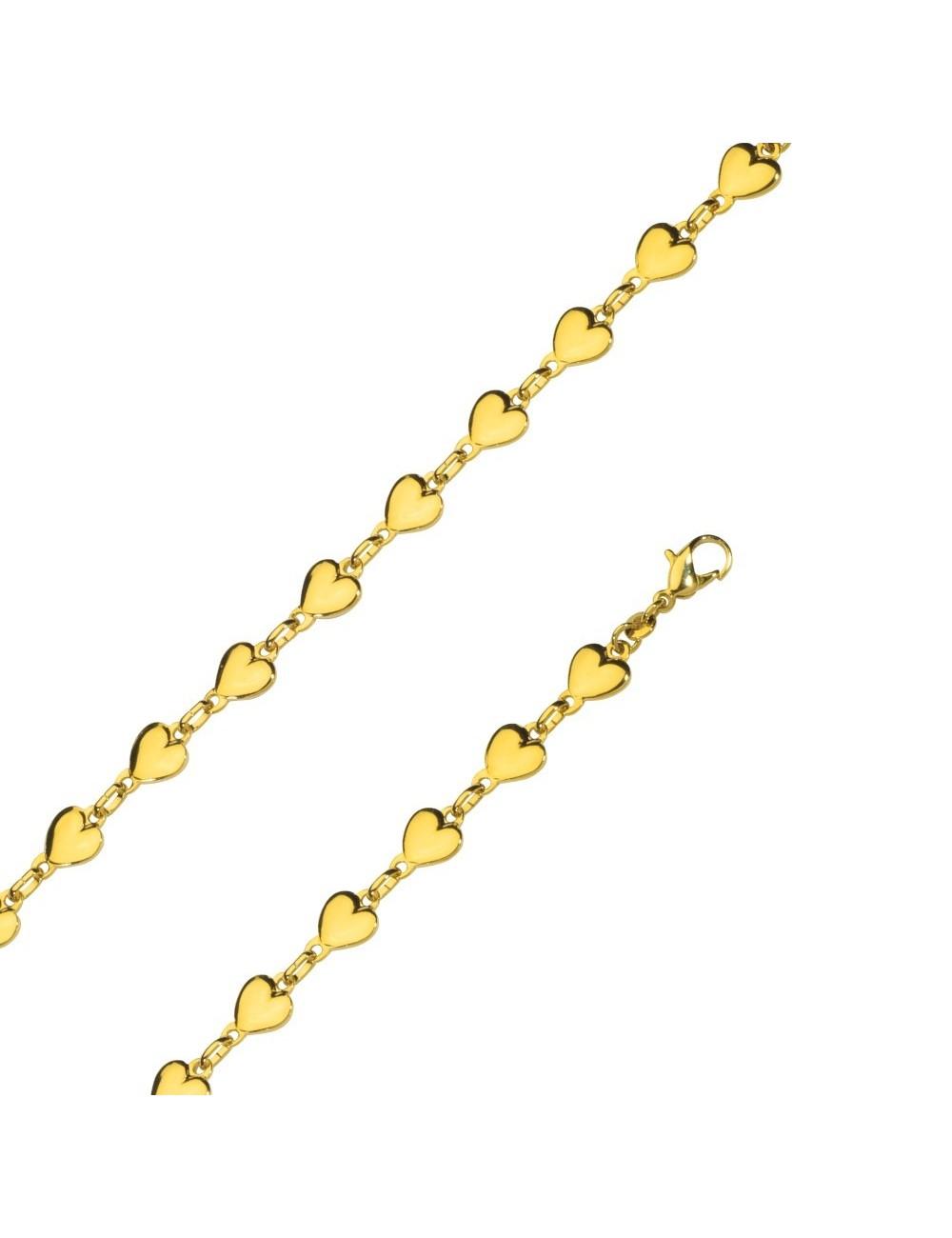 bracelet coeurs plaqué or