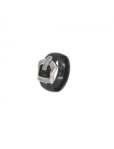 Bague céramique noir Argent  rhodié taille 52