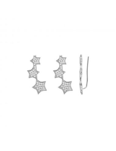 Boucles d'oreilles 3 étoiles Argent 925/1000 rhodié Oxydes de zirconium