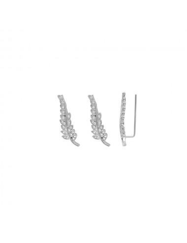 Boucles d'oreilles feuille Argent 925/10 rhodié Oxydes de zirconium
