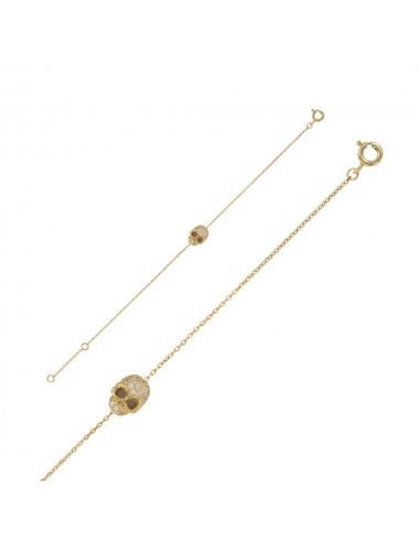 Bracelet tête de mort Argent doré Oxydes de zirconium