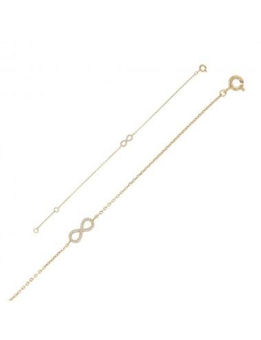 Bracelet infini Argent doré Oxydes de zirconium