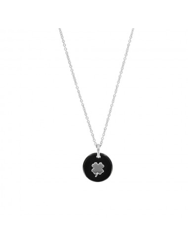 Pendentif  en céramique  noir motif trèfle en argent et chaine en argent